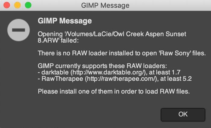 GIMP Error message
