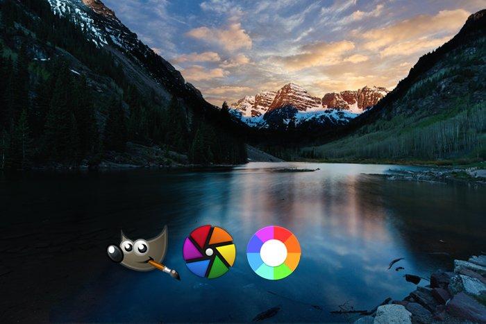 Mountain scene icons GIMP, RawTherapee, Darktable logos
