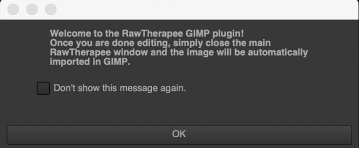 Screenshot of RawTherapee plug-in welcome message