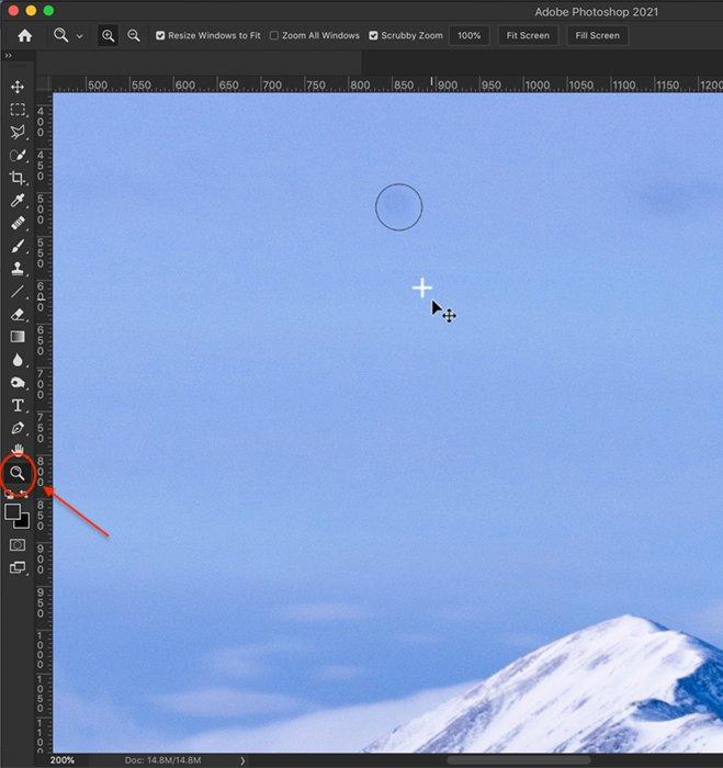 Captura de tela do Photoshop da ferramenta Magnifier
