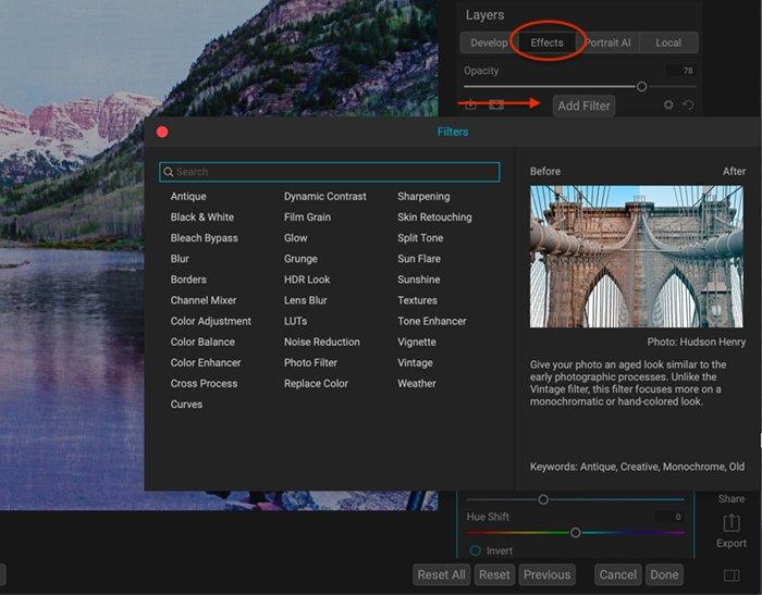 Lista de capturas de tela dos filtros que você pode adicionar na guia Efeitos no ON1 Photo Raw