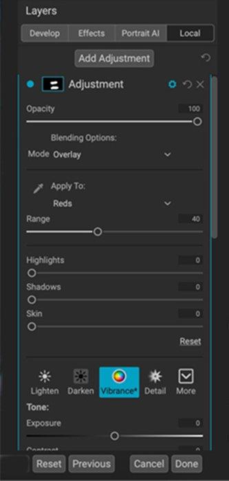 Captura de tela das configurações locais no ON1 Photo Raw mostrando modos de mesclagem e máscaras de alcance