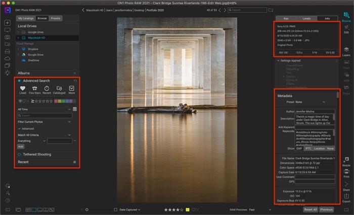 Captura de tela do ON1 Photo Raw mostrando a área de trabalho Navegar, permitindo que você pesquise e edite metadados