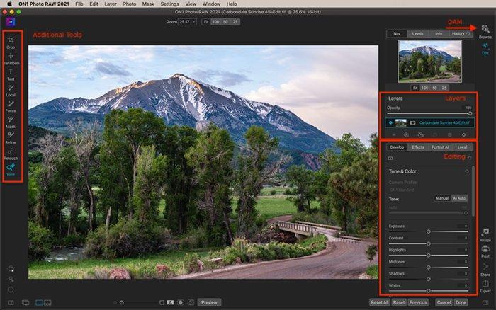 Captura de tela do espaço de trabalho de edição de fotos ON1 com montanha