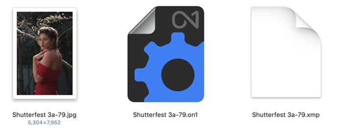 Arquivo Sidecar JPEG de três ícones
