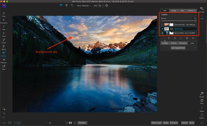 Captura de tela de ON1 Photo Raw Layers e Sky Replacement