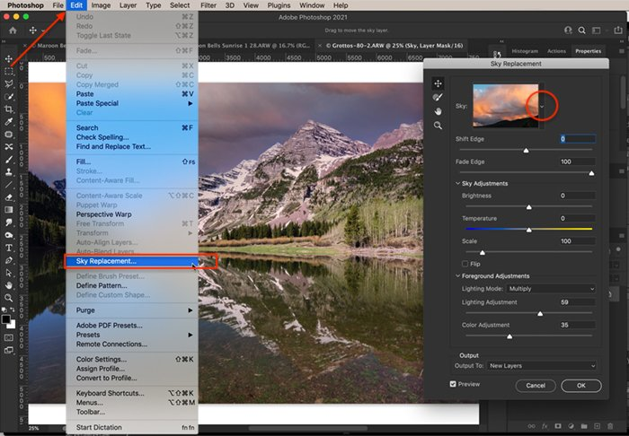 Photoshop screenshot how to open sky replacement tool