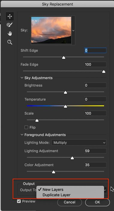 Screenshot sky replacement panel output options
