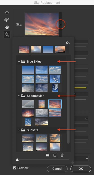 an image of the photoshop sky replacement panel