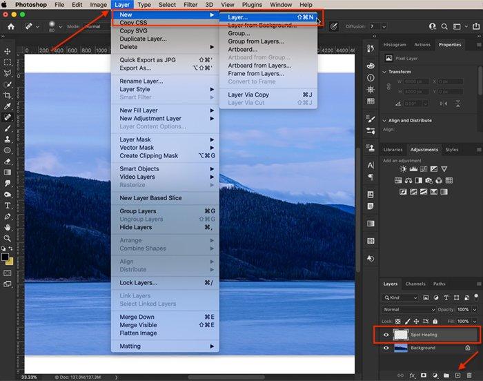 Captura de tela do Photoshop para criar uma nova camada