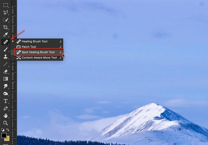 Captura de tela do Photoshop do Open Dot Healing Brush