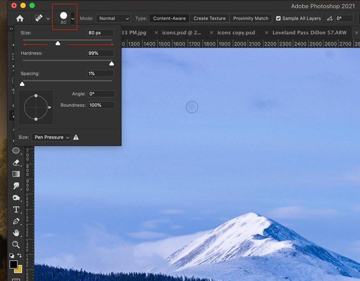 Captura de tela do Photoshop do pincel de tamanho