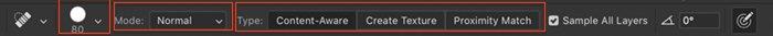 Captura de tela do Photoshop da barra de opções do pincel de cura de manchas