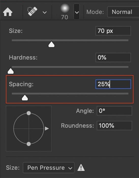 Captura de tela do Photoshop do espaçamento definido