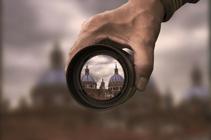 City seen through open lens