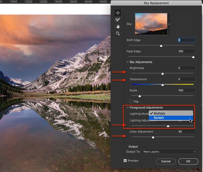 Photoshop screenshot sky replacement lighting controls