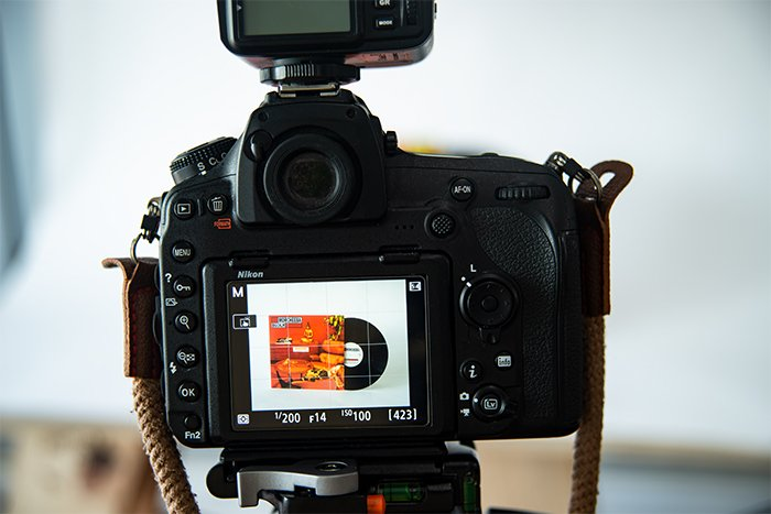 Camera screen showing the exposure settings