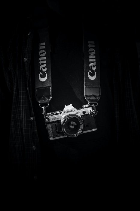 Canon AE-1 with black background