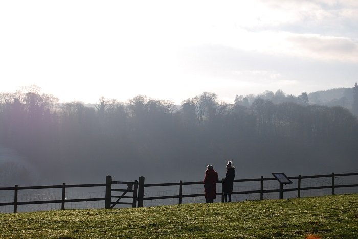 two people standing by a wooden fence in a green field