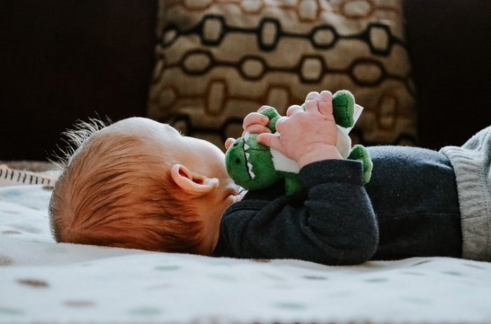 baby with his favourite dinosaur toy