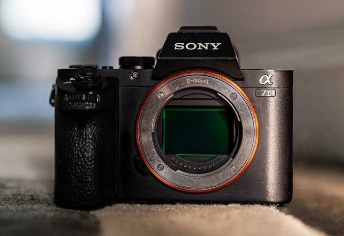 Sony a7II camera body from front and sensor