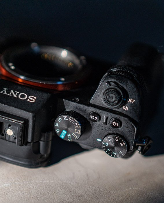 Sony a7 II body showing buttons and dials on top of the camera