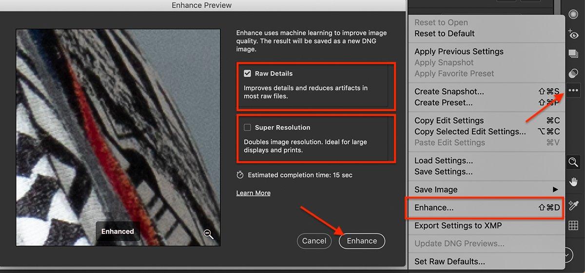Adobe camera raw screenshot enhance window