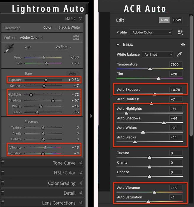 screenshot compare basic panel lightroom adobe camera raw