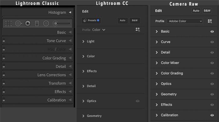 screenshot compare menu lightroom adobe camera raw