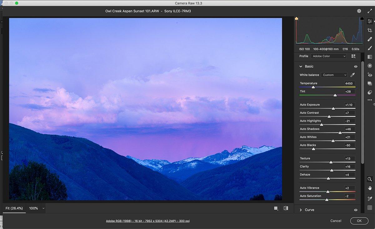 Adobe camera raw workspace screenshot