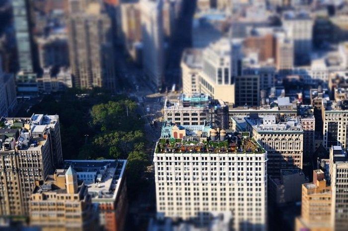 tilt-shift cityscape