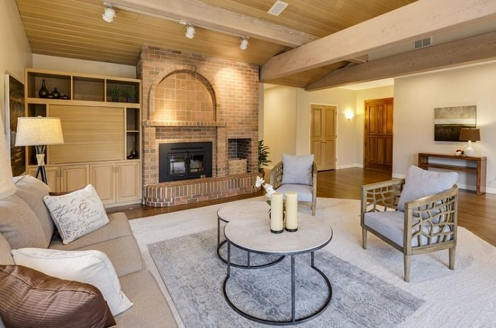 wide-angle real estate photograph of a living room