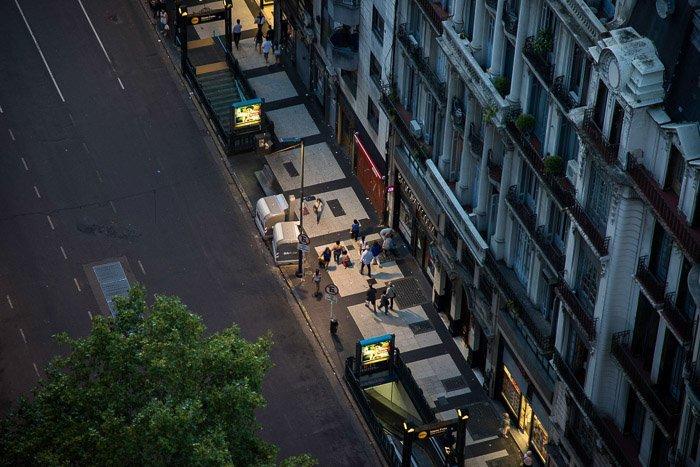 image of a street taken with a tilt-shift lens
