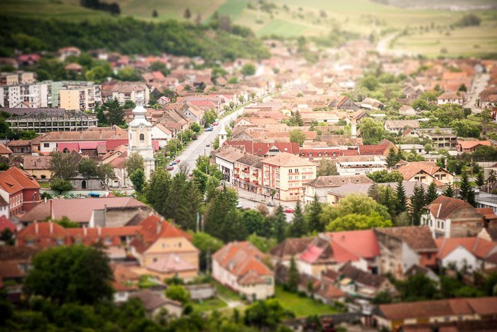 image of a town taken with a tilt-shift lens