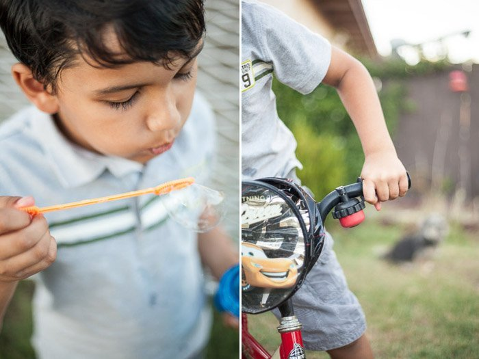 side-by-side comparison of creative cropping and focus, with a boy blowing bubbles and a shot which is not focused on the child's face