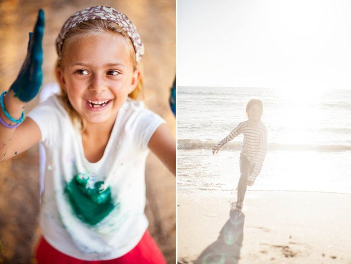 side-by-side images of a girl hand painting and a child running on a beach