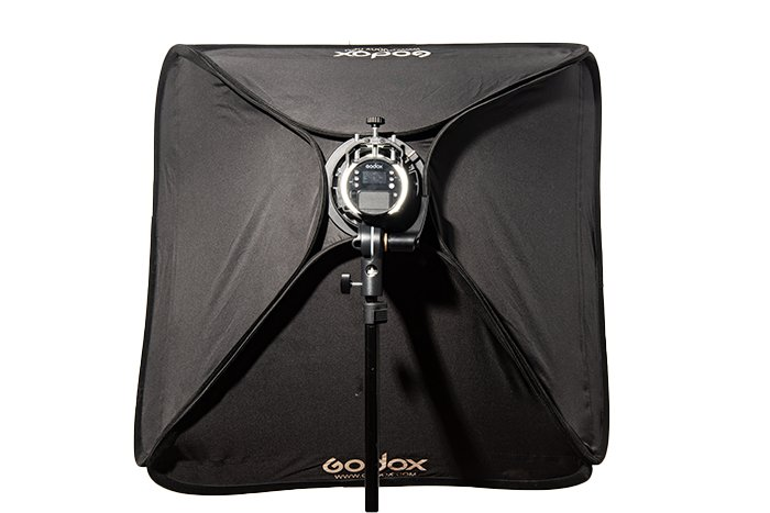 A view of a softbox from behind