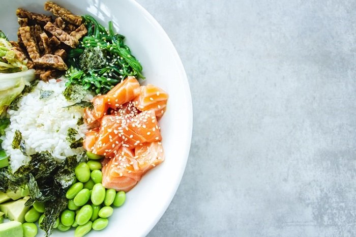 food photography of a salmon salad