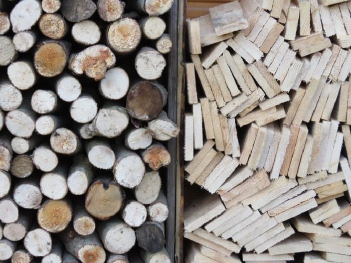 sticks and planks of wood side-by-side