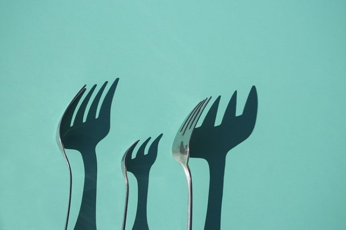 creative shadows of cutlery