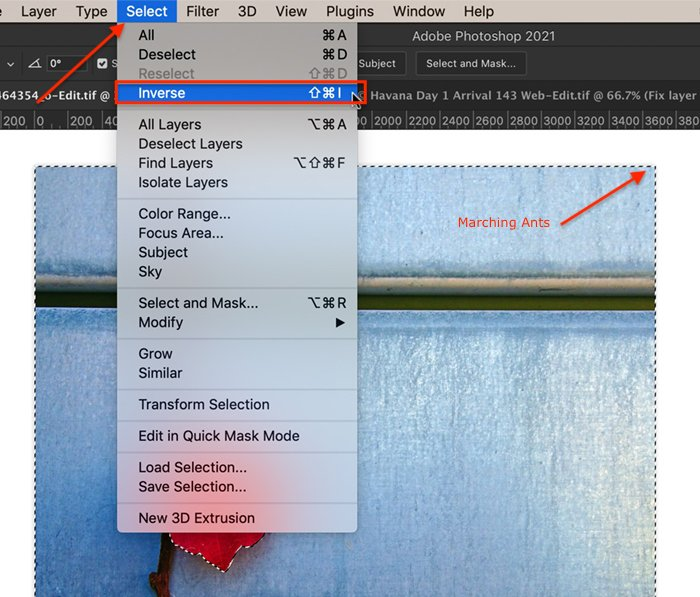 Screenshot showing how to invert a select for Photoshop selective color process