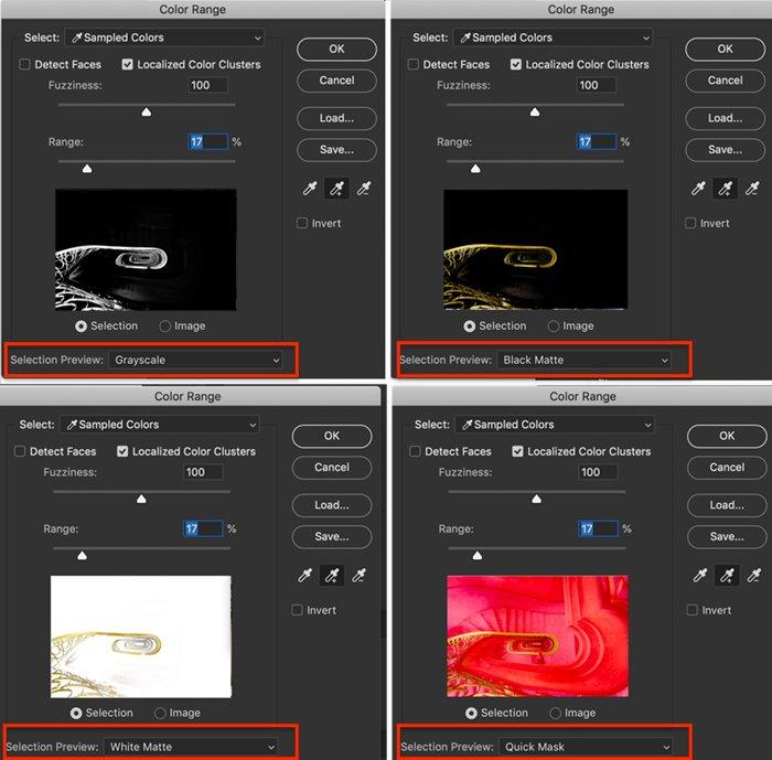 4 screenshot comparison of Color Range preview options for Photoshop selective color process