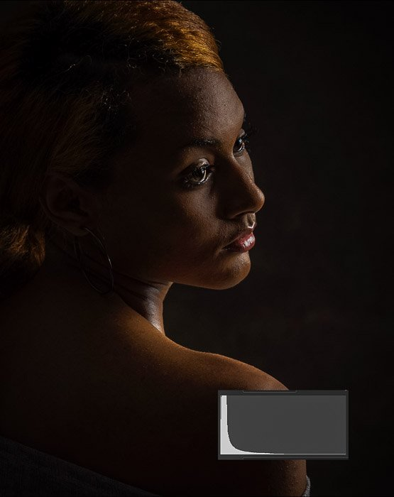 a low key portrait with low contrast