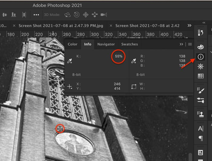 Screenshot of Photoshop Info panel showing 55% value for selected pixels