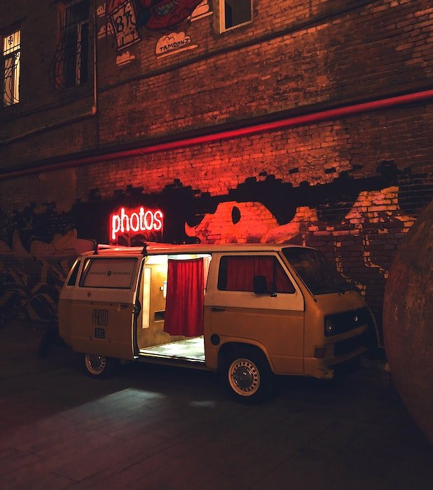 an image of a retro van converted into a photo booth