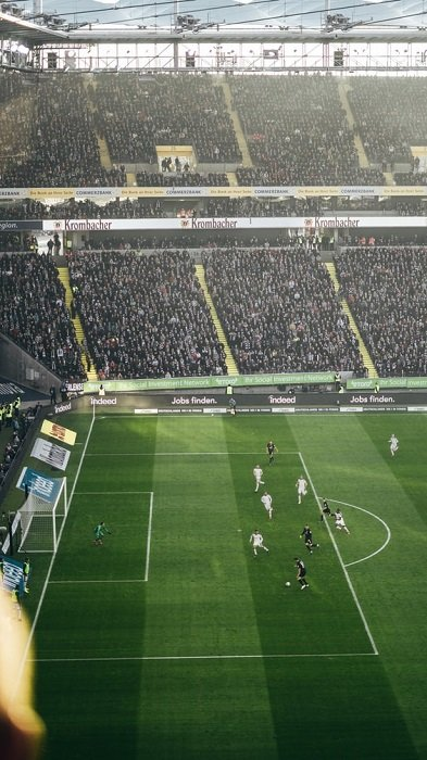 image of a footbal stadium with stands of fans in the background