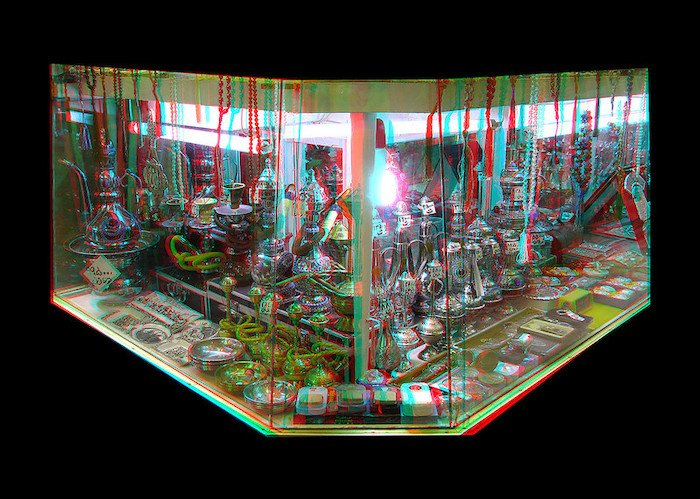 3D photo of a showcase of decorative pipes in a bazaar
