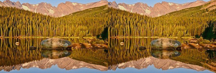 3D photography landscape stereo photo of mountains, forest, and lake with a reflection