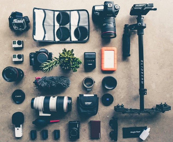 an image of a sample set of photography gear