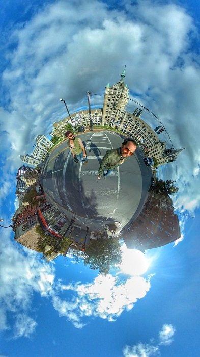 creative 360 camera shot of a city street